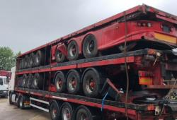 Mixed<br>Stack of Tri Axle Flats BPW axles